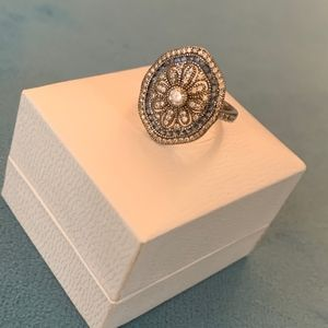 Sterling Silver Crystal Flower Ring Size 8
